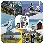 OMGear Waterproof Dry Bag Backpack Waterproof Phone Pouch 40L/30L/20L/10L/5L Floating Dry Sack for Kayaking Boating… 12 HIGHTEST QUALITY THICK MATERIALS,100% WATERPROOF GUARANTEED :OMGear dry bag is made by rugged 500D PVC tarpaulin , vinyl-coated for waterproof protection.Waterproof phone pouch is made by quality ABS+PVC with reinforced entry,which is worth $12 alone.You smart phone can trust our waterproof phone pouch. DOUBLE FLOATABLE ADJUSTABLE EVA BACK STRAPS:Unlike normal dry bags with one nylon shoulder strap,we make two back straps with adjustable buckles,allows for comfortable carrying and fit for most body sizes. The double straps are made by EVA material,which is same material as life vest,so the dry bag is floatable. COMPREHENSIVE USAGE:The dry backpack can float on water after rolled and buckled,,perfect for all outdoors activities,like diving, kayaking, boating, sailing, canoeing,surfing,fishing,rafting ,hiking ,camping, beach activities ect..