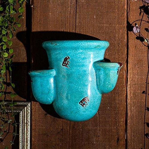Sungmor Ice-Crack Geglazuurde Keramische Plant Potten, Hoge kwaliteit Multi-kleur Opknoping Planter, Muur & Hek Decor Bloempotten Size:24cmL*17cmW*20cmH Blauw