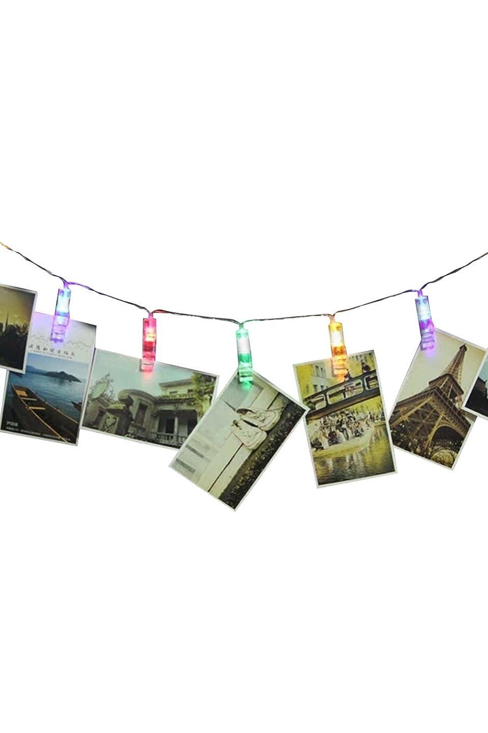疲労市区町村達成可能Lumierechat LEDライト LED ガーランド クリップ 写真 電池 装飾 電飾 イルミネーション レインボー a-4296(2m/レインボーカラー)