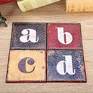 Set of 4 10x10cm Vintage Alphabet Letter Colorful PU Leather Round Bar Coaster Table Cup Holder