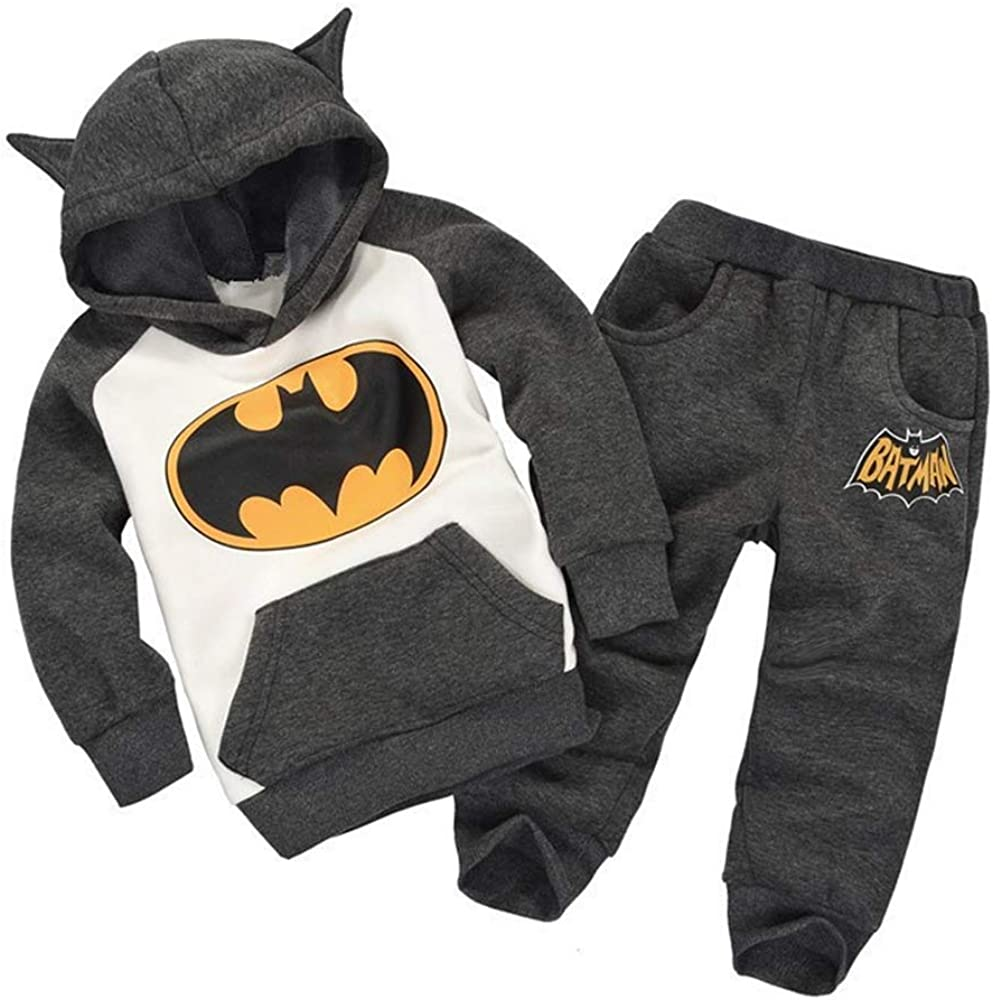 Toddler Little Kids Baby Boys Girls Batman Outfits Set,Long Sleeve Hoodie Sweatsuit Tracksuits Clothing Suit with Pockets