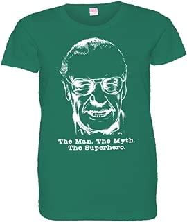 Womens Stan Lee Face Bust Man Myth Superhero HQ Tee Shirt
