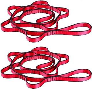 GDRAVEN 2 Fuerte Daisy Chain, cinturón Ajustable Correa Cuerda para Yoga, Caza Camping Outdoor Deporte Fuerte Escalada, Rojo/Gris