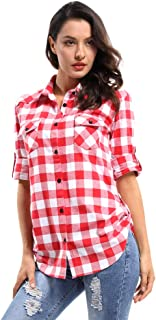 OCHENTA Women's Long Sleeve Button Down Plaid Flannel Shirt