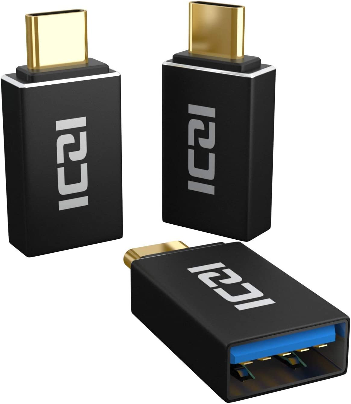 Mini USB C to USB Adapter, ICZI OTG Gold Plated Thunderbolt 3 to USB3.0 Converter for MacBook, Samsung Galaxy S8 S9 and Type C Devices - 3 Pack