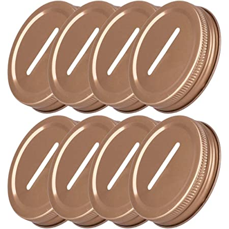 iiniim 8pcs 70mm/86mm Inner Diameter Stainless Steel Metal Coin Slot Bank Lid Inserts for Mason Jars Canning Jars Rose One Size
