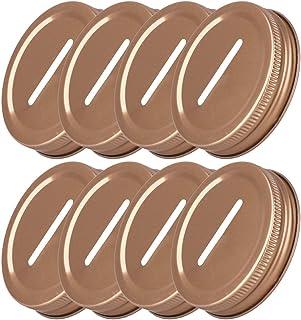 iiniim 8pcs 70mm/86mm Inner Diameter Stainless Steel Metal Coin Slot Bank Lid Inserts for Mason Jars Canning Jars Rose One...
