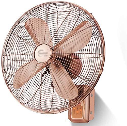 BESTPRVA Enfriamiento Pared Fan Fan - Inicio Remoto Pared Fan de 16 Pulgadas Sacudir la Cabeza del vendaval de Cobre Rojo