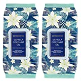 Body Prescriptions Vanilla and Coconut Oil Face Wipes & Makeup Remover Wipes - 2 Pack (60 Count Each) of Gentle Facial Cleansing Wipes  Flip Top Pack