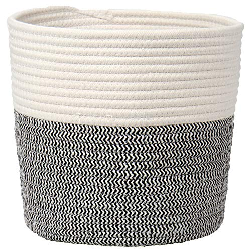Cotton Rope Woven Basket Jute Planter Cotton Thread Storage 10'x 10' Containers Organizer for Small Plants, Flower Pot, Crafts, Toys, Rustic Home Decor