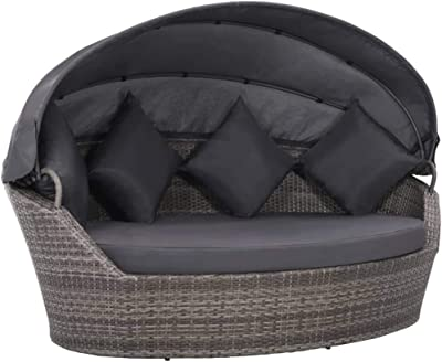 vidaXL Garden Bed with Adjustable Shaded Canopy Padded Cushion Poly Rattan Weather Resistant Patio Daybed Backyard Lounge Bed Patio Furniture Grey
