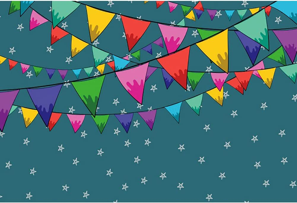 Haoyiyi 5x3ft Happy Birthday latest Backdrop Colorful White Stars All stores are sold Flags
