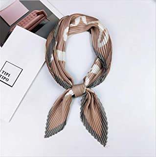Pleated Small Square Scarf Wrinkled Silk Headscarf Print Female Square Wrinkle Scarf Small Wrinkled Decorative Headscarf 23 Love Pink Fit For Women