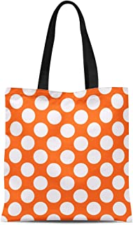 Semtomn Cotton Canvas Tote Bag Colorful Candy Orange Polka Dot Circle Color Diagonal Dotted Reusable Shoulder Grocery Shopping Bags Handbag Printed