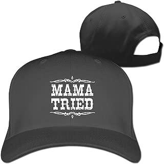 Mama Tried Retro Country Music Unisex Adult Adjustable Peaked Sandwich Hats Trucker Cap Baseball Cap Black