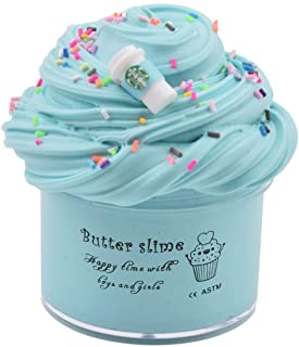 Latte Slime (Scented) with Charm, Butter Slime Strechy Non-Sticky and Glossy Slime, Stress Relief Toy for Girls and Boys (Blue)