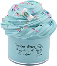 Latte Slime Scented with Charm, Butter Slime Strechy Non-Sticky and Glossy Slime, Stress Relief Toy for Girls and Boys (Blue)
