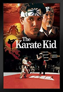 The Karate Kid All Valley Championship Tournament 1980s Movie Film Daniel Larusso Cobra Kai Black Wood Framed Art Poster 14x20