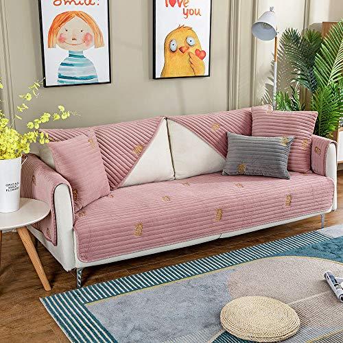 YUTJK Fundas de Almohada cuadradas Funda de sofá,Suaves para el sofá,el Dormitorio y el Coche,Vendido en Pedazos,Funda de sofá de Terciopelo con Estampado de piña-Rosado_Los 70×70cm