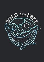 Notizbuch A5 kariert mit Softcover Design: Wild and Free Schönes Design mit Wal Welle und Mond: 120 karierte DIN A5 Seiten...