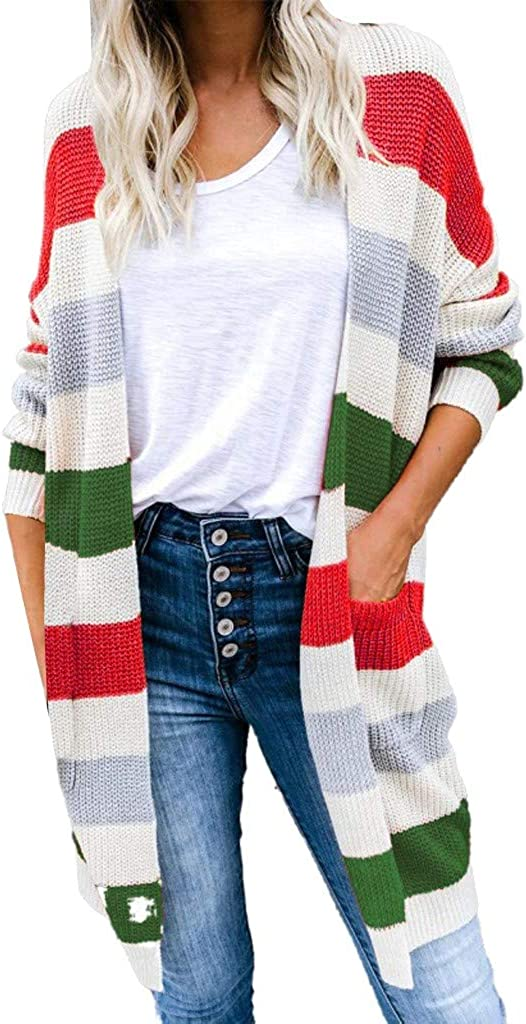 TOTOD Women Striped Cardigan Sweater Long Sleeve Color Casual Knitted Outerwear with Pockets