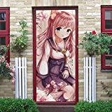 YMXRZDM Puerta Papel Pintado Chica anime Pegatina paredes Autoadhesivo Mural extraíble Adhesivo de Pared Arte decoración del hogar Póster PVC autoadhesivo impermeable 3D 95 x 215 cm