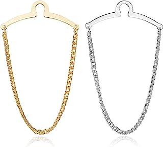 Jovivi 2pcs مجموعه نقره ای طلای نقره ای گردن بند کلیپس لینک زنجیره ای Cravat گردن پین سوز w / جعبه