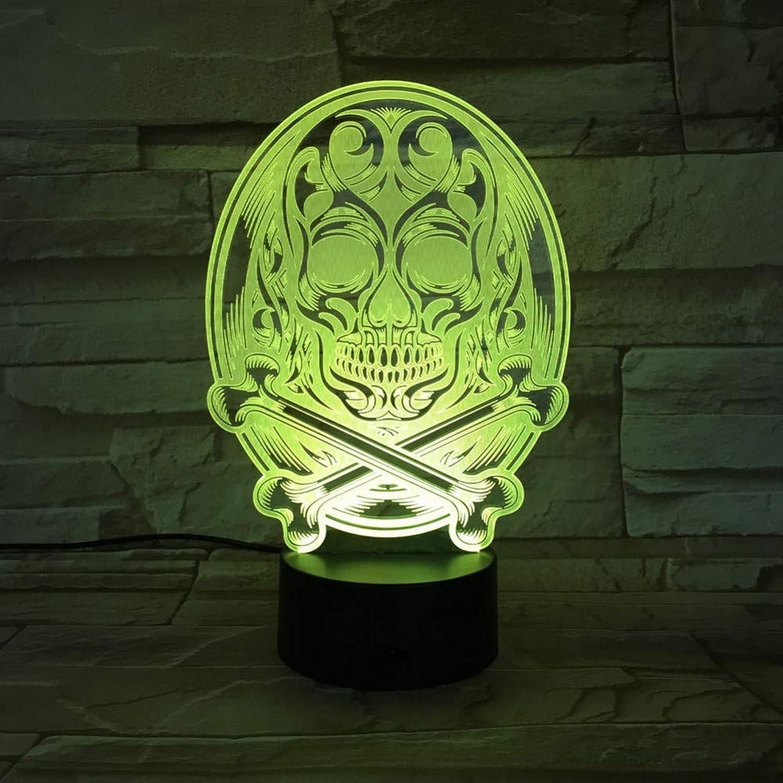 WZYMNYD Neuheit 3D führte visuelle 7 Farben allmhliche nderung Schdel Leuchten USB abstrakte Skelette Nachtlicht Dekor Beleuchtung Schreibtischlampe