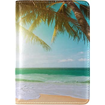 House Palm Trees Tropics Leather Passport Holder Cover Case Travel One Pocket