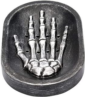 TOPBATHY Soap Dish Soap Drainer Tray Gothic Skeleton Skull Hand for Kitchen Bathroom Shower (Black)