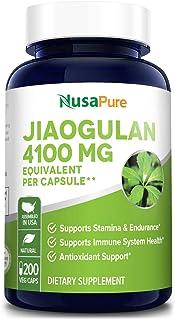 Jiaogulan 4100mg Per Caps 200 Veggie Capsule (Extract 10:1, Non-GMO & Gluten Free) Gynostemma Pentaphyllum AMPK Activator, Caffeine-Free Adaptogen Pills, Ginseng Root Powder Extract