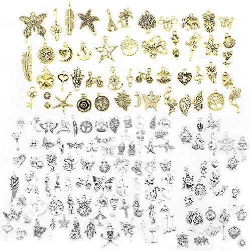 DXLing 150 Pieces Antique Animals Styles Charms Pendants Mixed Enamel Cute Styles Tibetan Pendant Charms DIY Metal Charms Pendants for Necklace Bracelet Jewelry Making and Crafting Gold Silver