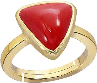 Red Coral Ring 7.5 Ct. Or 8.25 Ratti(Moonga/Munga Stone Adjustable Panchadhatu Ring for Men Moonga by GEMS HUB (Red)