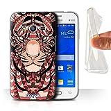 Custodia/Cover Gel/TPU/Prottetiva STUFF4 stampata con il disegno Disegno animale aztec per Samsung Galaxy Ace 4 Neo/G318 - Tiger-rosso