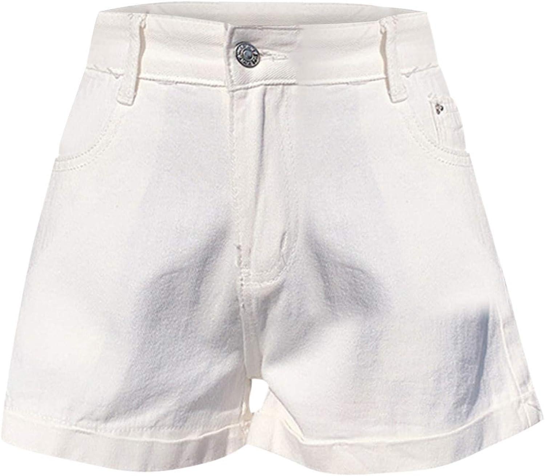 9527 Women Comfy Drawstring Casual Elastic Waist Pocketed Shorts