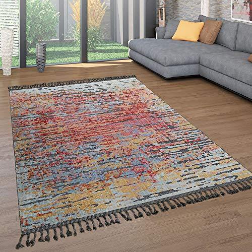 Alfombra Salón Pelo Corto Flecos Colorida Diseño Étnico 3D Abstracto Moderna, tamaño:160x220 cm