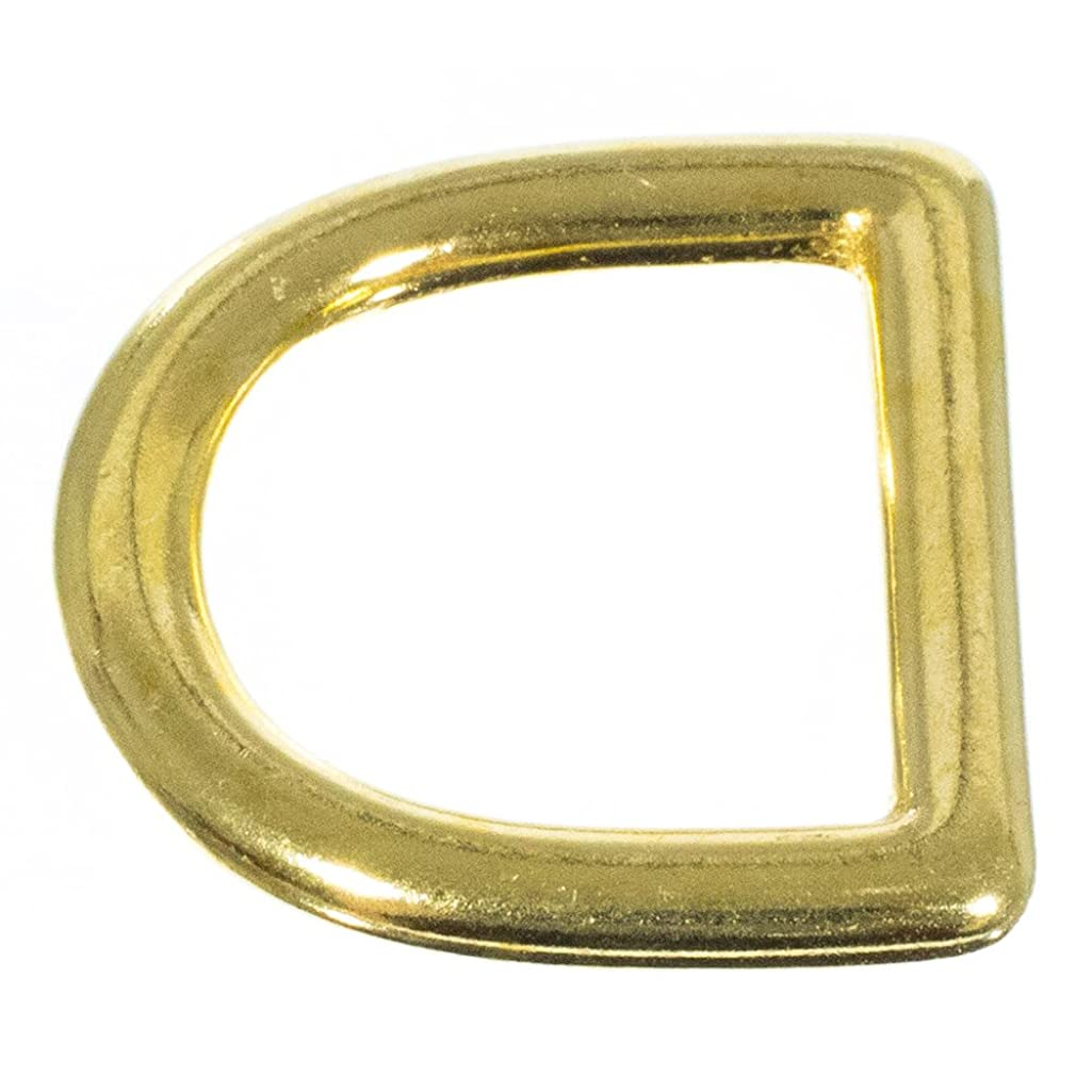 Craft County 6 Pcs Solid Brass D Rings - 1 Inch (25mm) Inner Width – for Straps, Bags, Purses, Belts, and Leathercrafts