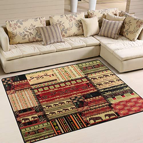 Use7 Teppich, afrikanischer Stil, Elefant, Azteken-Muster, Tribal-Design, Bohemian-Stil, für Wohnzimmer/Schlafzimmer, Textil, Mehrfarbig, 203cm x 147.3cm(7 x 5 feet)