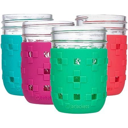 JarJackets Silicone Mason Jar Protector Sleeve - Fits 8oz REGULAR mouth Jelly Jars (4, Multicolor)