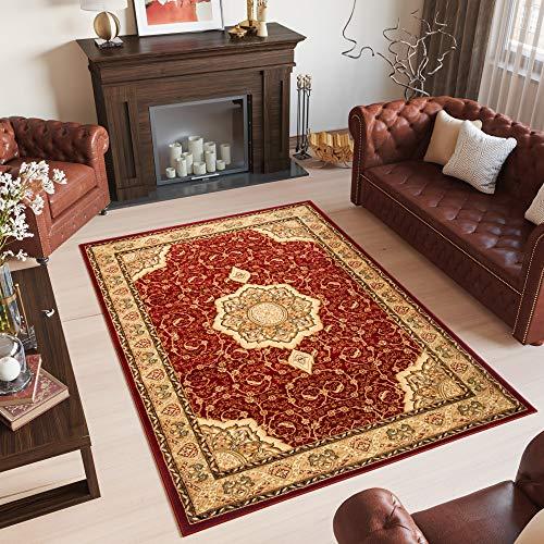 TAPISO YESEMEK Teppich Klassisch Kurzflor Orientalisch Teppiche in Rot Beige Gemustert Floral Ziegler Ornament Bordüre Barock Design Orientteppich Wohnzimmer ÖKOTEX 60 x 100 cm