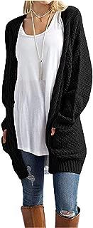 Aelean Women's Open Front Long Sleeve Boho Boyfriend Knit Chunky Cardigan Sweater