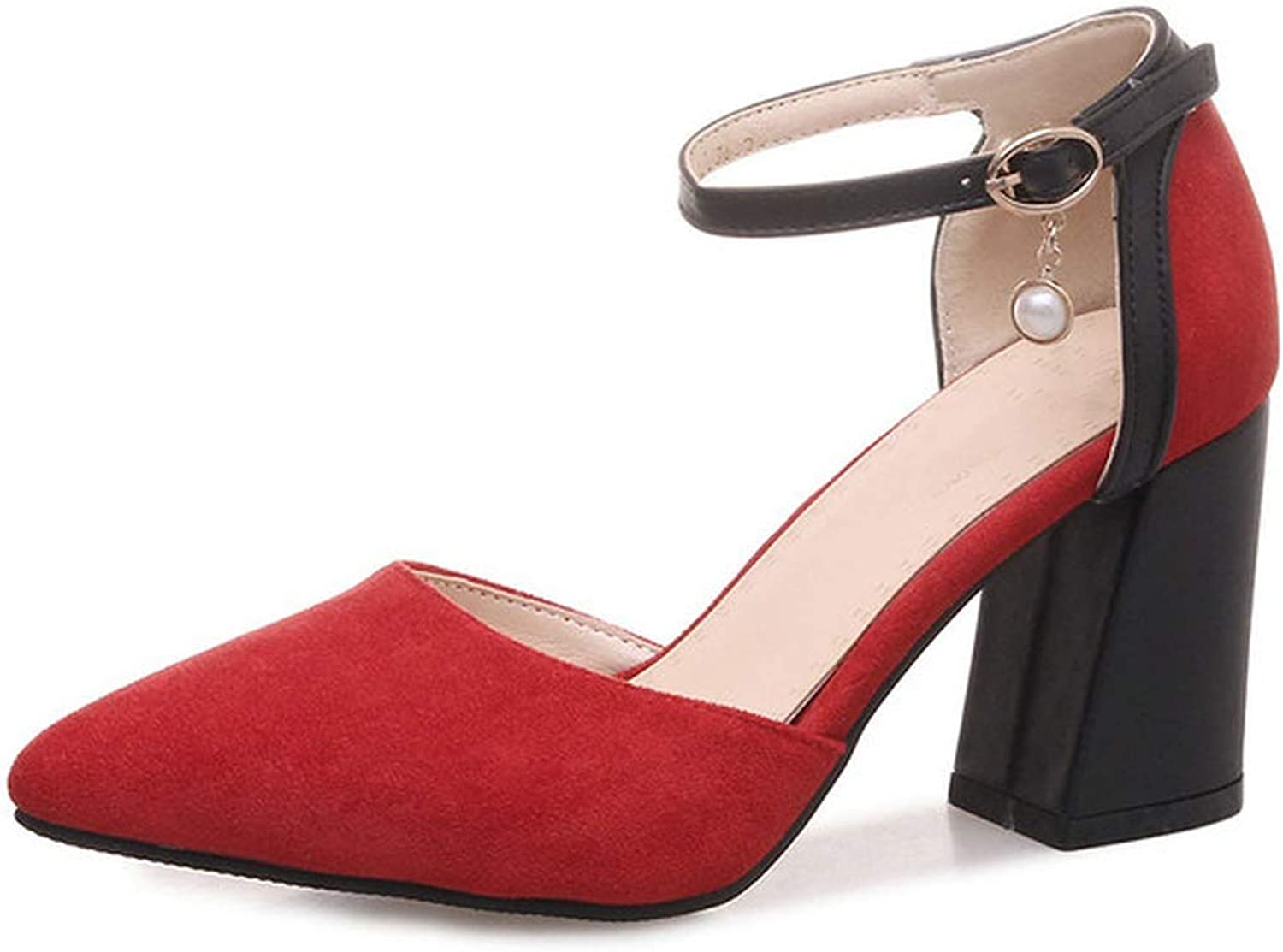 Women Pumps Flock Two-Piece Buckle Pointd Toe Elegant Women shoes