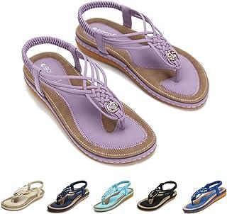 90529d177 Socofy Womens Sandals Summer Beach Flip Flops Thongs Ladies Bohemian Wedge  Shoes Elastic T-Strap