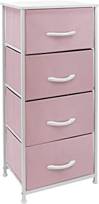 Sorbus Dresser Nightstand with 4 Drawers - Bedside Furniture & Accent End Table Chest for Home, Bedroom, Office, College Dorm, Steel Frame, Wood Top, Pastel Fabric Bins (Pink)