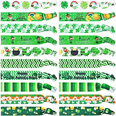 20 Pieces St Patrick's Day Hair Ties Accessories Shamrock Irish Elastic Hair Ribbon Ties Green Clover Ponytail Holders No Crease Hair Bands St. Patricks Party Favors Gifts for Girls Women