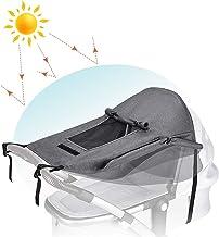 Universal Kinderwagen Sonnensegel mit UV Schutz 50 und Wasserdicht,Sichtfenster und Extra Breite Schattenflügel, Verstellbar Sonnenschutz für Kinderwagen Buggy