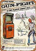 ガンファイトビデオゲーム。 ブリキサインヴィンテージ鉄塗装メタルプレートノベルティ装飾クラブカフェバー。
