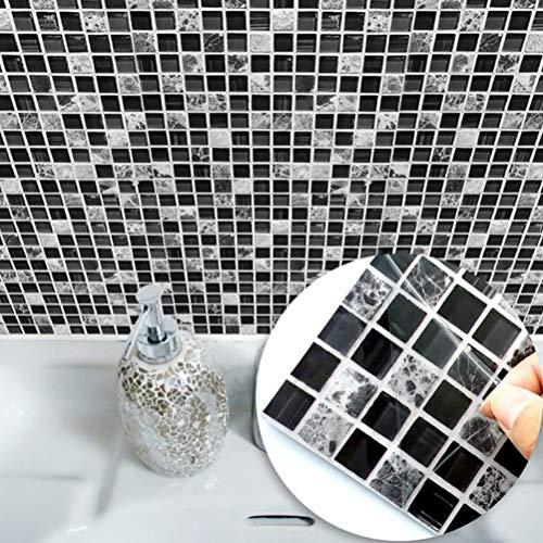 Ridioo 15 * 15 cm Imitación muebles de mármol PVC autoadhesivo empapelado baño cocina mosaico azulejo etiqueta de la pared arte(10pcs)