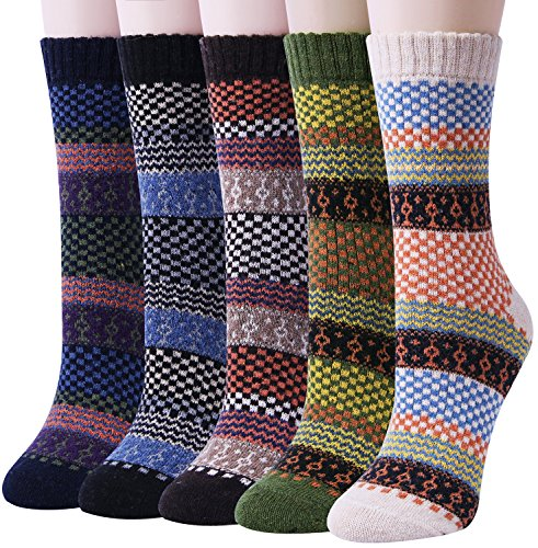Loritta 5 Pairs Womens Vintage Style Winter Warm Thick Knit Wool Cozy Crew Socks, Multicolor 06