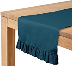 Vargottam Teal Blue Home Décor Kitchen Table Decor Home Frill Table Runner-14 x 90 Inch